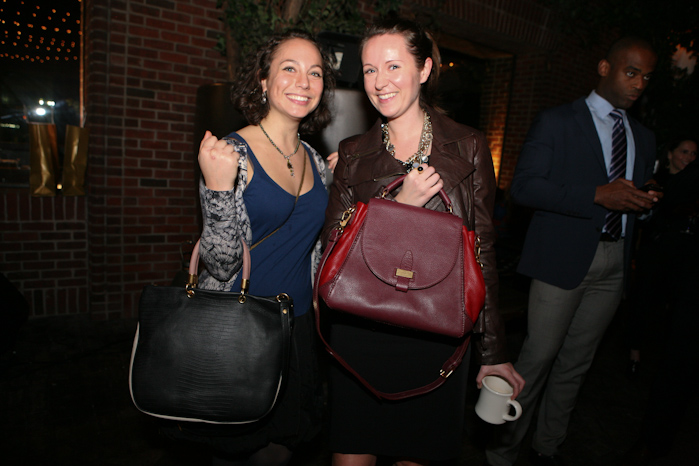 Lucky ladies Arielle Golden and Megan McKenna won Marc by Marc Jacobs bags generously donated by Zappos Couture.